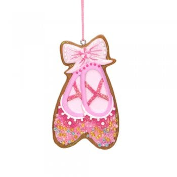 Gisela Graham Pastel Gingerbread Ballet Slippers Christmas Tree Decoration