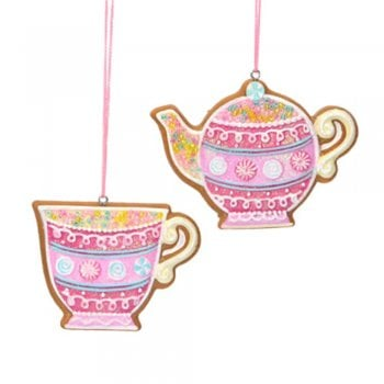 Gisela Graham Pastel Gingerbread Teapot and Teacup (Lemon) Christmas Tree Decoration