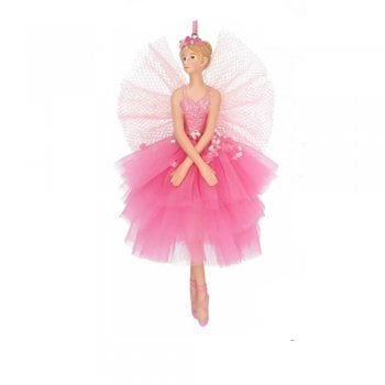 Gisela Graham Large Sugar Plum Ballerina Fairy (Arms Crossed) Christmas Tree Decoration