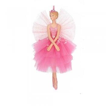 Gisela Graham Large Sugar Plum Ballerina Fairy (Arms Crossed) Christmas Tree Decoration