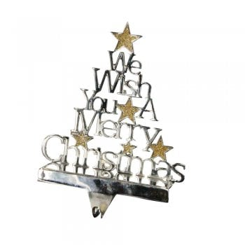 Gisela Graham We Wish You A Merry Christmas Metal Stocking Hanger
