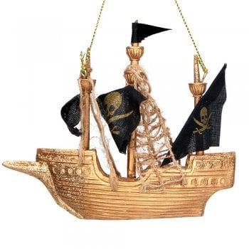 "Gisela Graham Captain Hook's Ship ""The Jolly Roger"" Resin Christmas Tree Decoration"
