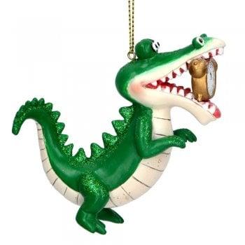 "Gisela Graham ""Tick-Tock"" the Crocodile Resin Christmas Tree Decoration"