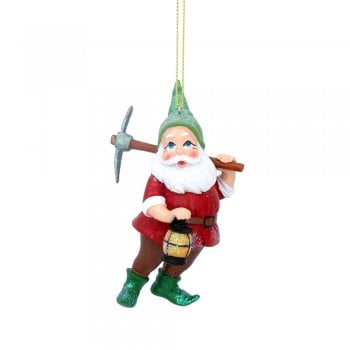 Gisela Graham Snow White Dwarf with Red Coat (Pick Axe) Painted Resin Christmas Tree Decoration