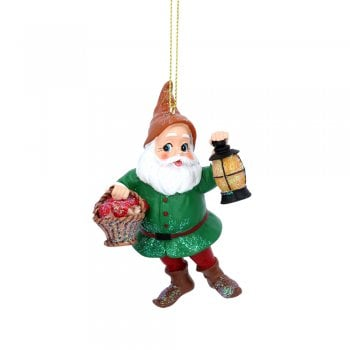 Gisela Graham Snow White Dwarf with Green Coat (Basket) Painted Resin Christmas Tree Decoration
