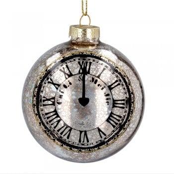 Gisela Graham Antiqued Silver Glass Pocket Watch Christmas Tree Decoration