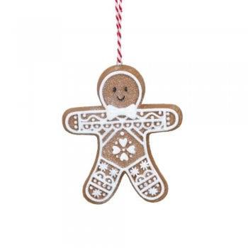 Gisela Graham Gingerbread 'Lace' Man (Square Tummy) Christmas Tree Decoration