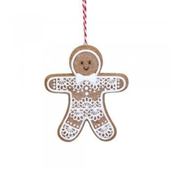 Gisela Graham Gingerbread 'Lace' Man (Lace Tummy) Christmas Tree Decoration