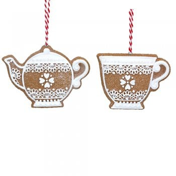 Gisela Graham Gingerbread 'Lace' Teapot and Teacup Christmas Tree Decoration