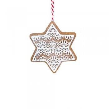 Gisela Graham Gingerbread 'Lace' Star Christmas Tree Decoration