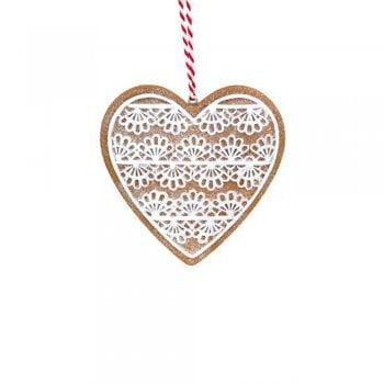 Gisela Graham Gingerbread 'Lace' Heart Christmas Tree Decoration