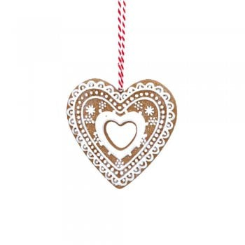Gisela Graham Gingerbread 'Lace' Open Centre Heart (White) Christmas Tree Decoration