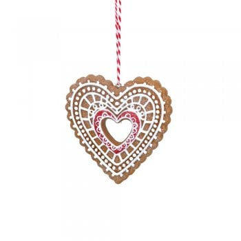 Gisela Graham Gingerbread 'Lace' Open Centre Heart (Red) Christmas Tree Decoration