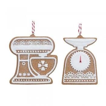 Gisela Graham Gingerbread 'Lace' Mixer & Scales Baking Set Christmas Tree Decoration