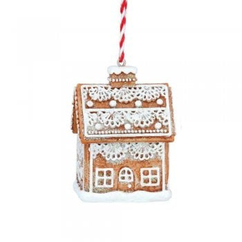 Gisela Graham Gingerbread 'Lace' 3D House (Lace) Christmas Tree Decoration