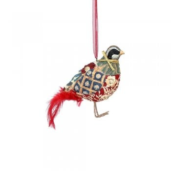 Gisela Graham Arts and Crafts Resin Partridge (Red) Christmas Tree Decoration
