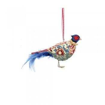 Gisela Graham Arts and Crafts Resin Pheasant (Blue) Christmas Tree Decoration