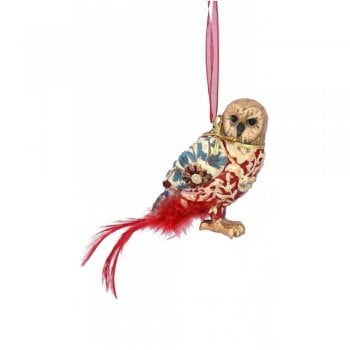 Gisela Graham Arts and Crafts Resin Owl (Red) Christmas Tree Decoration