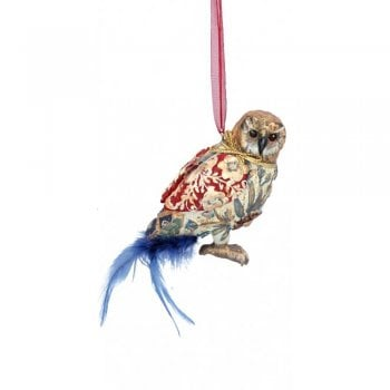 Gisela Graham Arts and Crafts Resin Owl (Blue) Christmas Tree Decoration