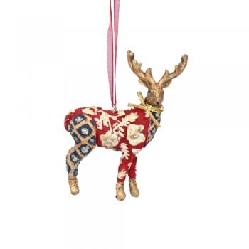 Gisela Graham Arts and Crafts Resin Stag (Red with Blue) Christmas Tree Decoration