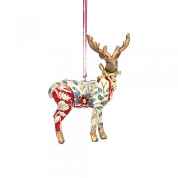 Gisela Graham Arts and Crafts Resin Stag (Cream with Red) Christmas Tree Decoration