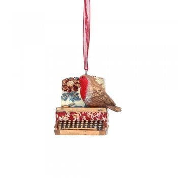 Gisela Graham Arts and Crafts Resin Robin with a Typewriter Christmas Tree Decoration