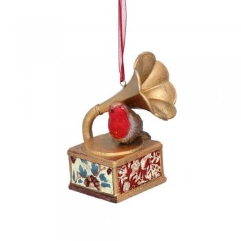 Gisela Graham Arts and Crafts Resin Robin with Gramophone Christmas Tree Decoration