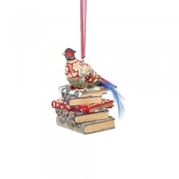 Gisela Graham Arts and Crafts Resin Pheasant with Books Christmas Tree Decoration