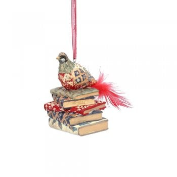 Gisela Graham Arts and Crafts Resin Partridge with Books Christmas Tree Decoration
