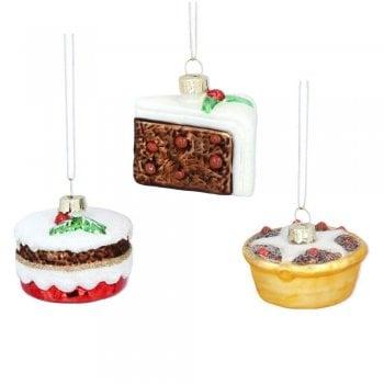 Gisela Graham Painted Glass Three Assorted Mini Cakes Christmas Tree Decoration