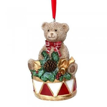 Gisela Graham Nostalgia Teddy Sitting on a Drum Christmas Tree Decoration