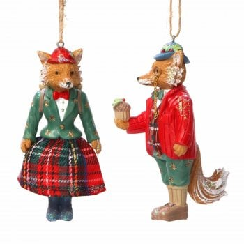 Gisela Graham Woodland Animals Mr & Mrs Fox Christmas Tree Decoration