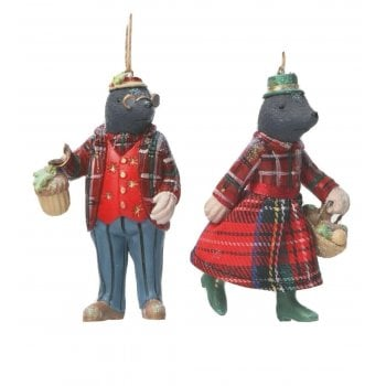 Gisela Graham Woodland Animals Mr & Mrs Mole Christmas Tree Decoration