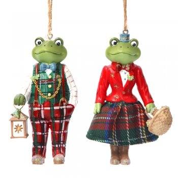 Gisela Graham Woodland Animals Mr & Mrs Frog Christmas Tree Decoration