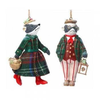 Gisela Graham Woodland Animals Mr & Mrs Badger Christmas Tree Decoration