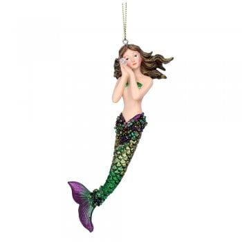Gisela Graham Resin 'Atlantis' Mermaid (Green) Christmas Tree Decoration