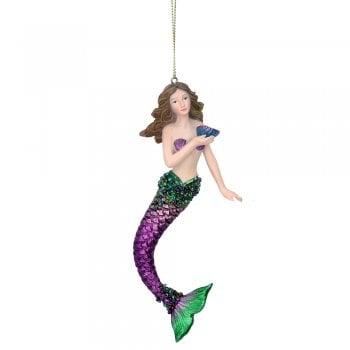 Gisela Graham Resin 'Atlantis' Mermaid (Purple) Christmas Tree Decoration