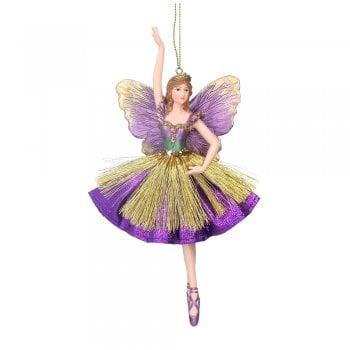 Gisela Graham Fabric & Resin 'Atlantis' Fairy (Purple) Christmas Tree Decoration