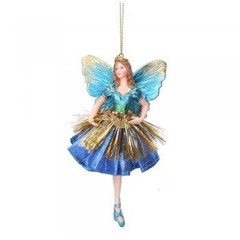 Gisela Graham Fabric & Resin 'Atlantis' Fairy (Blue) Christmas Tree Decoration
