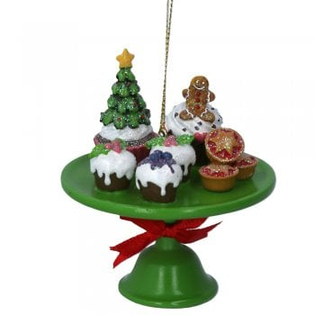 Gisela Graham Resin Christmas Cakes on a Stand Christmas Tree Decoration