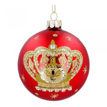 Gisela Graham Matt Red with Painted Crown and Bumble Bee Glass Bauble Christmas Tree Decoration