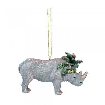 Gisela Graham Rhino with Leaves (Headdress) Christmas Tree Decoration
