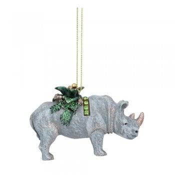 Gisela Graham Rhino with Leaves (Shawl) Christmas Tree Decoration