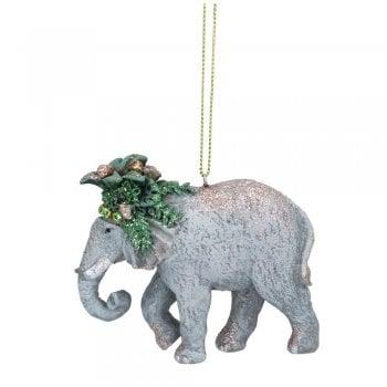 Gisela Graham Elephant with Leaves (Headdress) Christmas Tree Decoration