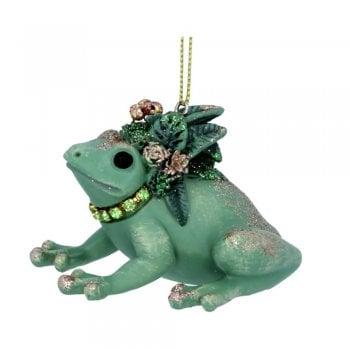 Gisela Graham Frog with Leaves (Headdress) Christmas Tree Decoration