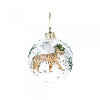 Gisela Graham Glass Bauble Noble Creatures (Tiger) Christmas Tree Decoration