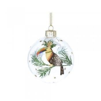 Gisela Graham Glass Bauble Noble Creatures (Toucan) Christmas Tree Decoration