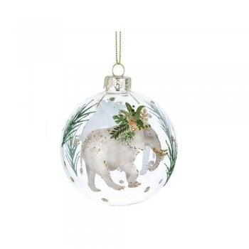 Gisela Graham Glass Bauble Noble Creatures (Elephant) Christmas Tree Decoration