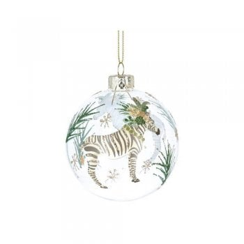 Gisela Graham Glass Bauble Noble Creatures (Zebra) Christmas Tree Decoration