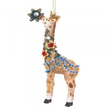 Gisela Graham Fantasy Giraffe with Flower & Jewels Christmas Tree Decoration